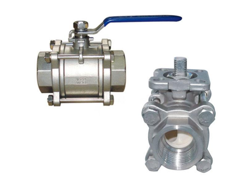 Three piece ceramic ball valve